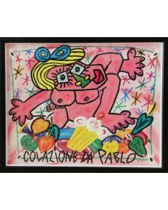 Bruno Donzelli, Colazione da Pablo, tecnica mista su tela, 40x50 cm