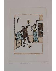 Orfeo Tamburi, Don Abbondio con Lucia, acquaforte, 50x35 cm