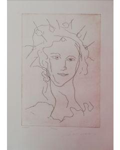 Ernesto Treccani, Lucia, acquaforte, 50x35 cm