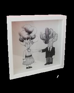 Loris Dogana, Soul Mates, grafica in vitro, 27x27x6 cm (con cornice)