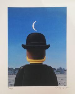 Stefano Bolcato, Il maestro - René Magritte, grafica fine art, 30x37 cm