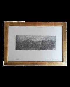 Giovanni Fattori, Paesaggio con due bovi, acquaforte, 14,5x37,5 cm (40,5x55 cm con cornice)