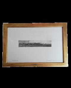 Giovanni Fattori, Lungomare, acquaforte, 6,5x29,5 cm (41,5x56,5 cm con cornice)