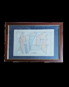 Atanasio Soldati, Astratto italiano, carboncino su carta, 27x34 cm