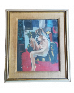 Anonimo, Nudo cubista, olio su cartone, 43x34 cm