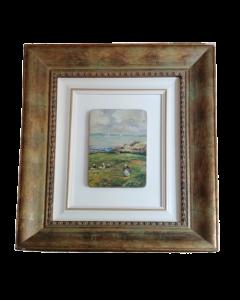 A. Tallone, Contadine bretoni, olio su tavola, 92x42 cm