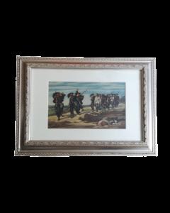 H. L. Dupray, Bersaglieri, olio su tavola, 36x45 cm