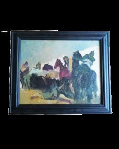 Anonimo, Uomini a cavallo, olio su cartone, 30x36 cm