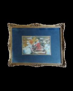 Anonimo, Donna e cane in barca, olio su tavola, 34x44 cm