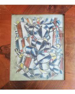 Anonimo, Figure cubiste, olio su tela, 50,5x39,5 cm