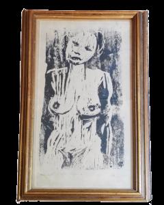 Max Weber, Nudo espressionista, serigrafia, 95x29,5 cm