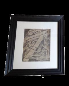H. Jokrapoba, Angeli e aviatori, disegno su carta, 46x40 cm, 1914