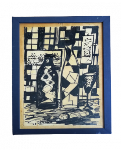 Tollando, Natura morta geometrica, carboncino su carta, 40x26 cm