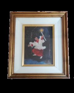 G. Ferranti, Bambino con candela, olio su tavola, 41x34 cm