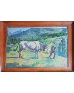 Ruggero Bracco, Bue e contadino, olio su tavola, 40x49 cm