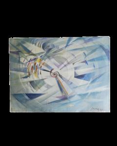 Autore russo, Aviatore, tempera su tavola, 42,5x57 cm