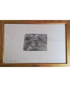 Giovanni Fattori, Bovi aggiogati, acquaforte, 15x19 cm (41,5x56,5 cm con cornice)