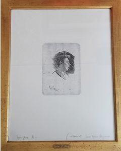 Giovanni Fattori, Ragazzo che canta, acquaforte, 20x13 cm (56,5x41,5 cm con cornice)