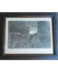 Giovanni Fattori, Tramonto, acquaforte, 15x23 cm (26,5x32 cm con cornice)