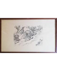 Giovanni Fattori, Senza titolo, acquaforte, 36x52 cm (con cornice)