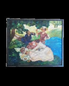 Anonimo, Colazione sull'erba, tempera su tavola, 46x54 cm
