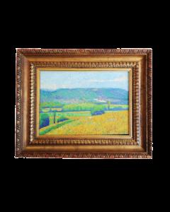 Anonimo, Vista sulle colline, tempera su tavola, 37,5x46 cm