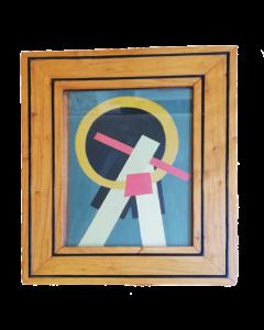 Anonimo, Geometrico, olio su tavola, 49x40 cm