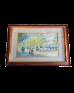 Quizet, Viale francese, olio su tela, 52x62 cm
