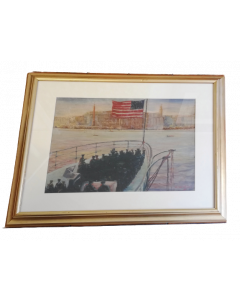 Chiao, Marina americana, olio su cartone, 58x67 cm