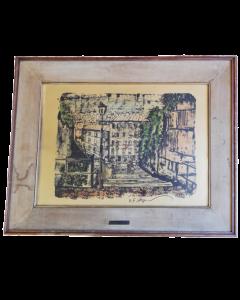 Arnulf Erich Stegmann, Scorcio cittadino (Buchenstrasse 1), stampa su carta, 52x64 cm