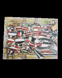 Anonimo, Figure cubiste, olio su tavola, 21x28 cm