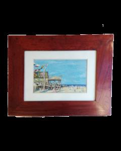 Anonimo, Spiaggia, olio su tavola, 42x50,5 cm