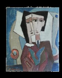 E. Meertens, Ritratto di coppia, olio su tela, 59,5x50 cm