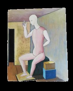 Anonimo, Figura, olio su tavola, 48,5x40 cm