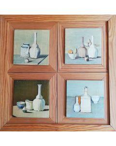 Anonimo, Quattro nature morte, olio su tavola, 33x33 cm