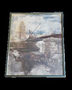 Anonimo, Costruzione urbanistica, acquerello su carta, 57,5x42 cm
