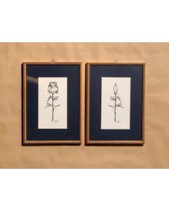 Loris Dogana, Fleur de style+Fleur d'encre, inchiostro su carta, 22x32 cm l'uno