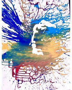 Marco Gabriele, Prometeo, tecnica mista su tela, 60x80 cm, 2020