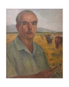 Giovanni Malesci, Autoritratto, olio su compensato, 60,5 x 50 cm, 1950