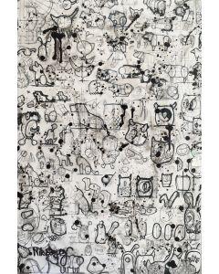 Nik Baeyens, Senza Titolo, acrilico, spray, resina, marker su stampa su tela, 45x67 cm