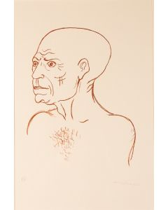 Giuseppe Migneco, Omaggio a Picasso, litografia, 50x35 cm