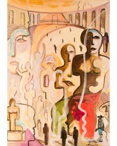 Carlo Massimo Franchi, Omaggio a Dalì. Il torero allucinogeno e le aggregazioni, olio su tela, 50x69 cm