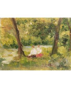Daniela Penco, Tra due alberi, olio su cartone telato, 18x24 cm