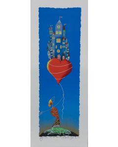 Meloniski da Villacidro, La città del cuore, retouché con inserti di brillantini, 20x50 cm
