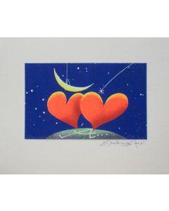 Meloniski da Villacidro, Innamorati, serigrafia e collage ritoccata a mano, 20x25 cm