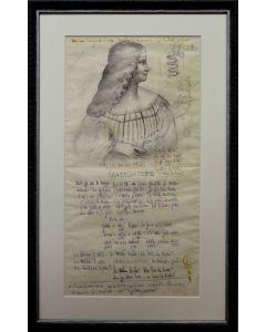 Giancarlo Prandelli, Isabella D'Este, matita e inchiostro su cartoncino, 46x24cm