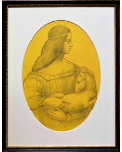 Giancarlo Prandelli, Omaggio ad Isabella d'Este e alla Dama con l'ermellino, matita su cartoncino, 21x32cm (D273)