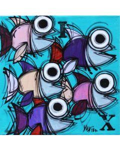 Yux, Ix, acrilico, pastelli a cera, manifesti su tela, 30x30 cm