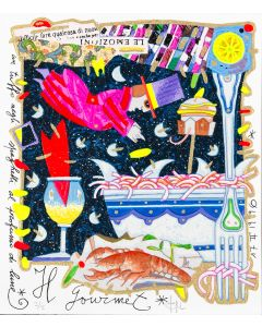 """Francesco Musante, Il Gourmet, serigrafia materica, 23x20 cm, tratta dalla serie """"I Mestieri"""""""