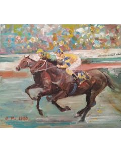 Scuola Francese, J.M. Corsa di cavalli, olio su tavola, 18x21cm